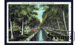 Старинная американская открытка Канал во Флориде