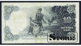 БАНКНОТА , ЛАТВИЯ , 10 ЛАТ 1937 - P 082023