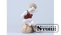 Статуэтка, Футболист  , фарфор, Рига, Рижская фарфоровая фабрика, 1950 - годы , 11.9 см
