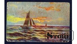 Коллекционная открытка времён Ульманиса Рассвет в море