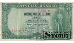 БАНКНОТА , ЛАТВИЯ , 25 ЛАТ 1938 ГОД - B757,941