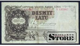 БАНКНОТА , ЛАТВИЯ , 10 ЛАТ 1937 - V 137467