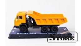 Макет автомобиля, КАМАЗ 5511, желтая кабина 1:43