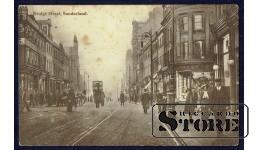 Старинная английская открытка Сандерленд. Улица Бридж