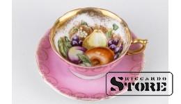 Фарфор, Чайная пара Фрукты - Сложных оттенков, Royal Sealy China Japan Porcelain, 20 век