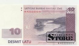 БАНКНОТА, ЛАТВИЯ, 10 Лат 2008 год  - AUNC
