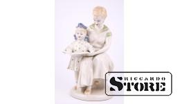 Figūriņa, Mamma un meita lasa grāmatu, Porcelāns, Polonne ZHK, 1960tie, 22.5cm
