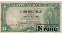 БАНКНОТА , ЛАТВИЯ , 25 ЛАТ 1938 ГОД - A099,205