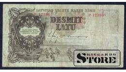 БАНКНОТА , ЛАТВИЯ , 10 ЛАТ 1937 - P 123967