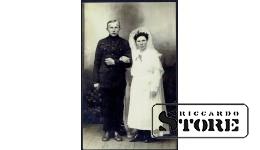 Старинная открытка времён Ульманиса. Свадебная фотография
