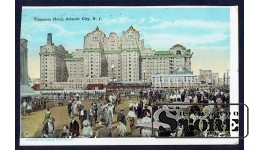 Старинная американская открытка Большой Отель в Атлантик