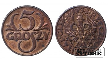 1938 Poland Second Republic (1919 - 1939) Coin Coinage Standard 5 groszy Y# 10a #PL99