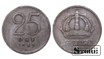 1943 Sweden King Gustav V (1908 - 1950) Coin Coinage Standard 25 Ore KM#816 #SW187