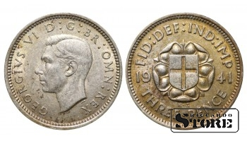 1941 Great Britain UK Coin Silver Ag Coinage Rare 3 Pence KM#848 #UK693