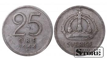 1944 Sweden King Gustav V (1908 - 1950) Coin Coinage Standard 25 Ore KM#816 #SW165