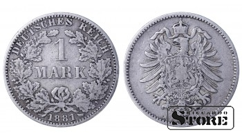 1881 Germany German Empire (1871 - 1922) Coin Coinage Standard 1 Mark KM # 7 #G244