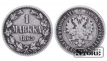 1865 Finland Emperor Nicholas II (1895 - 1917) Coin Coinage Standard 1 markka KM#3 #F365