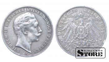 1910 German Empire Coin Silver Ag Coinage Rare 3 Mark KM#527 #G756