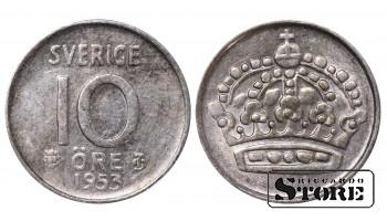1953 Sweden King Gustav V (1908 - 1950) Coin Coinage Standard 10 Ore KM#823 #SW218