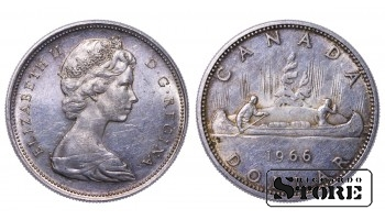 Canadian Queen Elizabeth II Coin Coinage Standard 1966 1 Dollar KM#64.1 #CA538