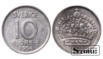1954 Sweden King Gustav V (1908 - 1950) Coin Coinage Standard 10 Ore KM#823 #SW208