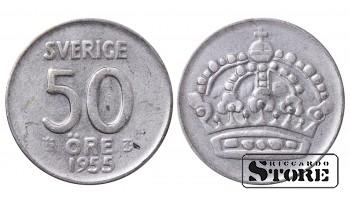 1955 Sweden King Gustav V (1908 - 1950) Coin Coinage Standard 50 Ore KM#825 #SW160