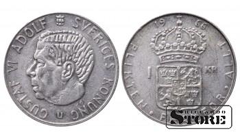 1966 Sweden King Gustaf VI Adolf (1950 - 1973) Coin Coinage Standard 1 Krona KM#826 #SW140