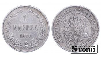 1890 Finland Emperor Nicholas II (1895 - 1917) Coin Coinage Standard 1 markka KM#3 #F350