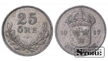 1917 Sweden King Gustav V (1908 - 1950) Coin Coinage Standard 25 ore KM# 785 #52