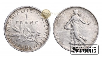 Франция , 1 франк 1913 год , Серебро 5 г , Третья Республика (1870 - 1941)