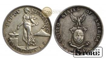 Монеты США (Филиппины) , 50 центов - 1944 год S - Серебро 10 г