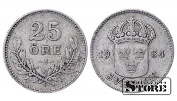 1934 Sweden King Oscar II (1873 - 1907) Coin Coinage Standard 25 ore KM# 785 #43