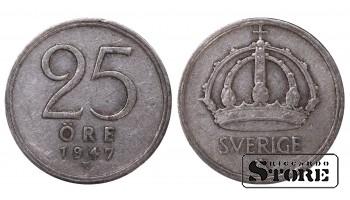 1947 Sweden King Gustav V (1908 - 1950) Coin Coinage Standard 25 Ore KM#816 #SW174