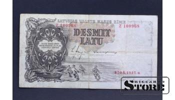 БАНКНОТА , ЛАТВИЯ , 10 ЛАТ 1937 год - Z 100968