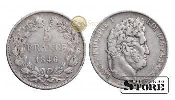 Франция , 5 франков 1846 год , Серебро 25 г  - Королевство Франция (1815 - 1848)