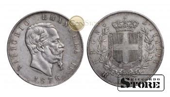 Италия , 5 лир 1876 год , Серебро 25 г , Король Виктор Эммануил II (1861 - 1878)