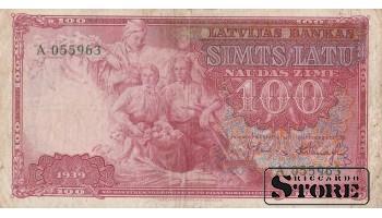 БАНКНОТА, ЛАТВИЯ, 100 ЛАТ 1939 ГОД - A 055963