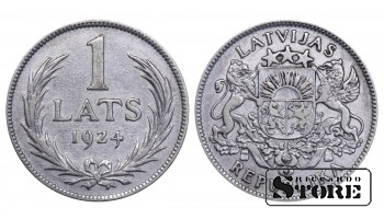 1924 Latvia First Republic (1922 - 1940) Coin Coinage Standard 1 lats KM# 7 #LV252