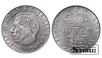 1968 Sweden King Gustaf VI Adolf (1950 - 1973) Coin Coinage Standard 1 Krona KM#826a #SW126