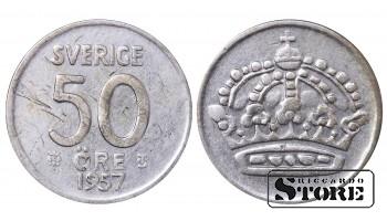 1957 Sweden King Gustav V (1908 - 1950) Coin Coinage Standard 50 Ore KM#825 #SW157