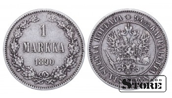 1890 Finland Emperor Nicholas II (1895 - 1917) Coin Coinage Standard 1 markka KM#3 #F357