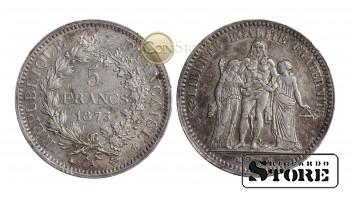 Франция , 5 франков 1873 год , Серебро 25 г , Третья Республика (1870 - 1941)