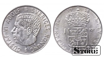 1958 Sweden King Gustaf VI Adolf (1950 - 1973) Coin Coinage Standard 1 Krona KM#826 #SW128