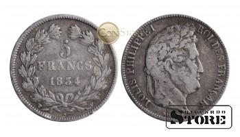 Франция , 5 франков 1834 год , Серебро 25 г - Королевство Франция (1815 - 1848)