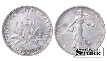 1919 France Third Republic (1870 - 1941) Coin Coinage Standard 1 franc KM#844 #66