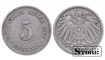 1907 Germany German Empire (1871 - 1922)) Coin Coinage Standard 5 pfennig KM#11 #G326