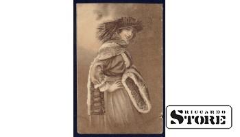 Коллекционная открытка Российской Империи Красотка