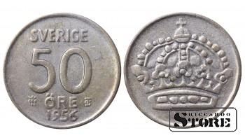 1956 Sweden King Gustaf VI Adolf (1950 - 1973) Coin Coinage Standard 50 Ore KM#825 #SW142