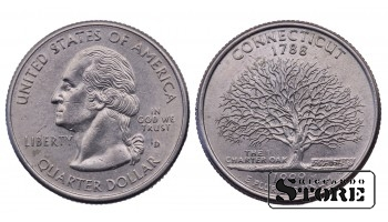 1/4 ДОЛЛАРА 1999 ГОД Connecticut D