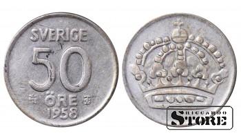 1958 Sweden King Gustav V (1908 - 1950) Coin Coinage Standard 50 Ore KM#825 #SW156